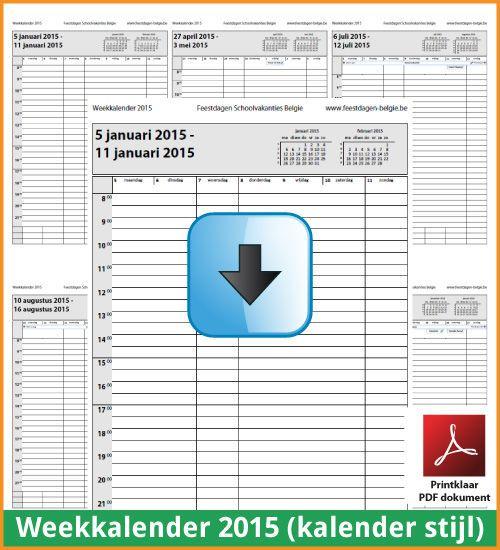 Gratis weekkalender 2015 met de Belgie feestdagen en schoolvakanties. Kalender Stijl. (download kalender 2015) via www.feestdagen-belgie.be