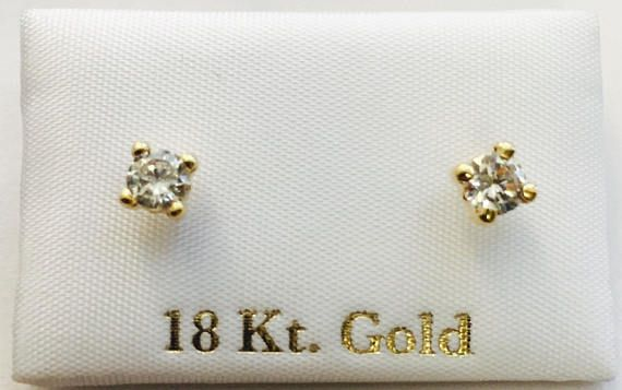 Solid 18k gold Stud Earrings pink heart for girls, toddler and teenagers with safety screw backs