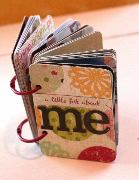 A Little Bit About Me mini - this would be a good book made of used credit and key cards....