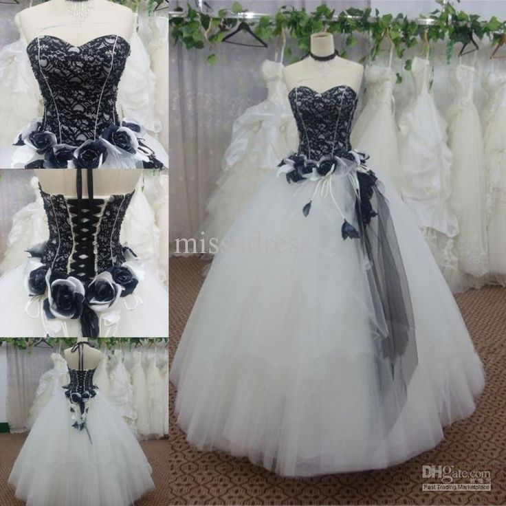 Custom Made White And Black Lace Flower Decoration Tulle Ball Gown Long Dress For Prom Formal Dress