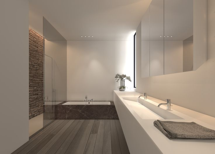 Soft atmosphere and pure lines, bathroom design by Filip Deslee
