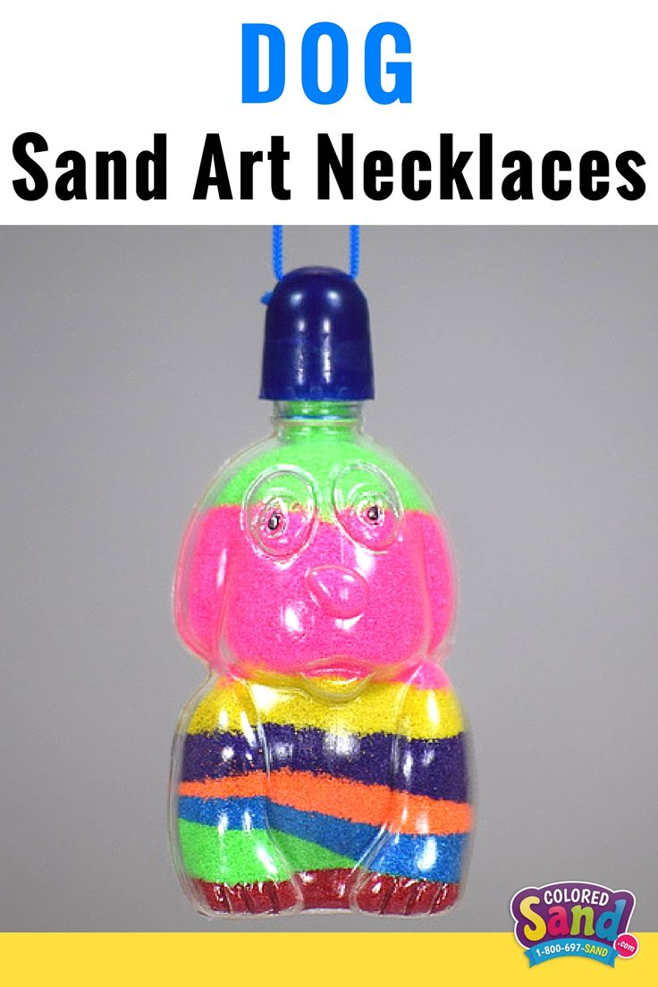 Sand art necklaces that come in a ton of other shapes as well. Good for boys or girls. Great for party favors. Works well at summer camp, birthday parties, block parties and more!