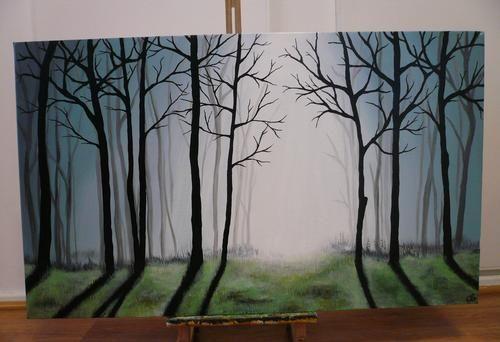 Easy Acrylic Painting On Canvas   Acrylics - Misty Forest Acrylic Painting on Canvas was sold for R599 ...