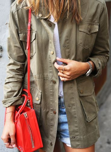 The Military Fashion Trend: Julie Sarinana is wearing a Sincerely Jules khaki army jacket... | Style Inspiration