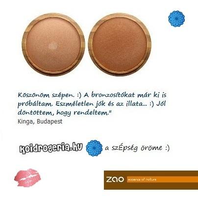 ZAO ásványi bronzosító vélemény. Kinga kozmetikus, több árnyalatot is rendelt. | Beszerezhető: http://koidrogeria.hu/termek/zao_asvanyi_bronzosito_puder.html
