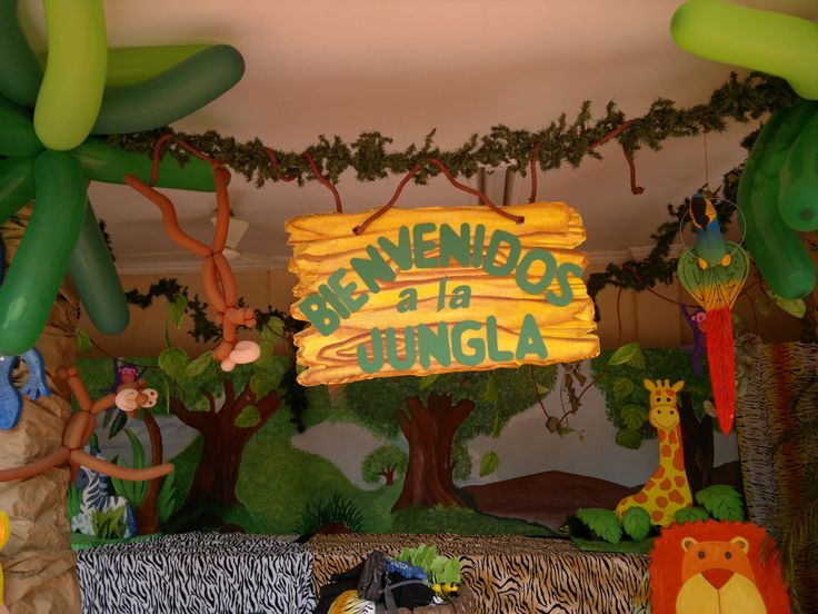 17 best images about fiesta animales de la selva on for Decoracion fiesta jardin