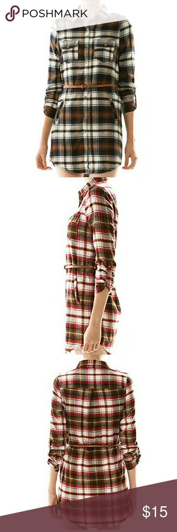 Love Tree flannel shirt dress NWOT flannel shirt dress. Color is first one pictured. 100% cotton. Faux pockets. love tree Dresses Long Sleeve