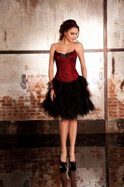 robe de cocktail avec jupe en tulle noire bustier rouge. Black Bedroom Furniture Sets. Home Design Ideas