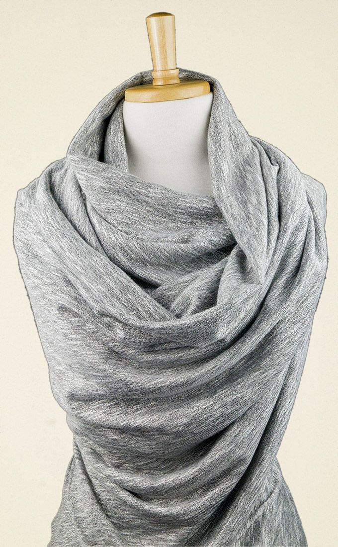 Beautifully-draping grey jersey fabric with silvery slubs knitted into the cloth. Perfect for elegant tops, tunics and dresses; also luxurious loungewear.