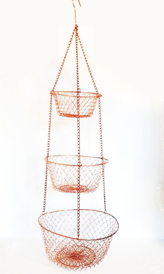 3 Tiered Metal Wire Hanging Basket Copper Metal by HarpersFlea Vintage  Metal Baskets Kitchen Decor
