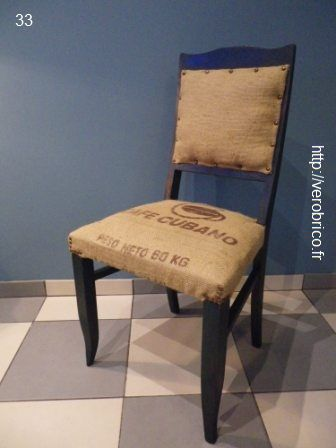 upholster a chair tapisser une chaise avec de la toile de jute diy pinterest toile de. Black Bedroom Furniture Sets. Home Design Ideas