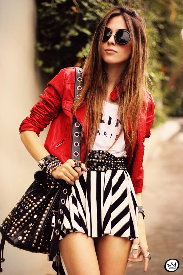 Red jacket for a bold pop of color.