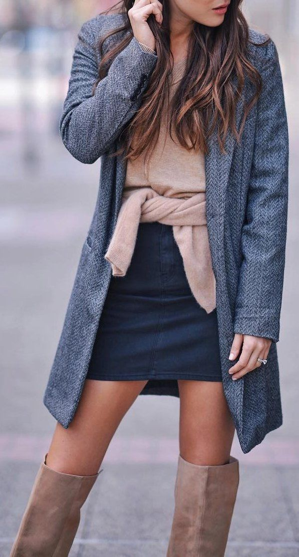 Grey Coat // Black Skirt // Suede Knee Length Boots // Pink Top                                                                             Source