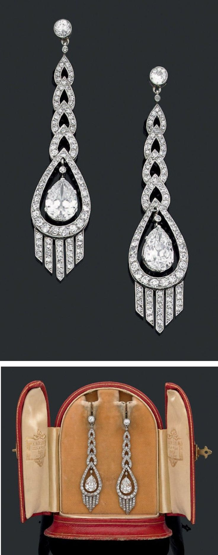 An elegant pair of Art Deco platinum, white gold and diamond earrings, about 1920. Length 6.3cm. #ArtDeco #earrings