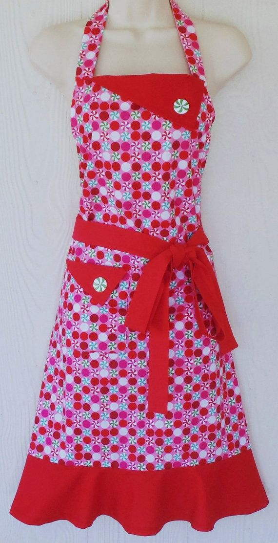 Peppermint Candy Christmas Apron, Retro Christmas Apron, Pink Christmas Apron, Snowflakes, Vintage Style, KitschNStyle