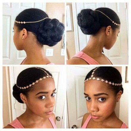 goddesss head band on natural hair. Simple possible wedding look