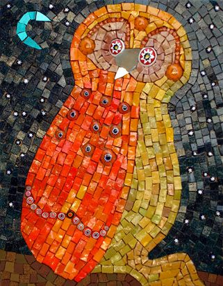 """""""Startled Owl """" by #mosaic #artist Martin Cheek #owl #owls"""