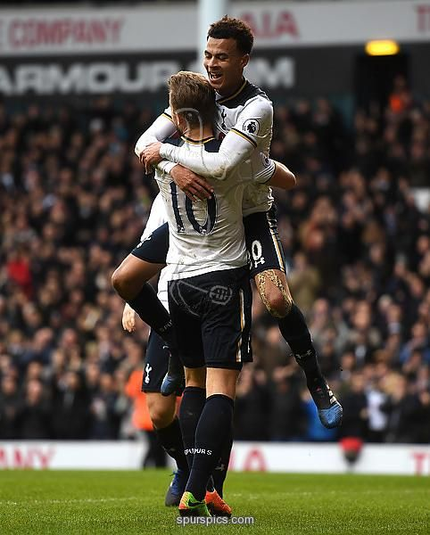 LONDON, ENGLAND - FEBRUARY 26: Dele Alli of Tottenham Hotspur celebrates scoring his teams fourth goal with teammate Harry Kane during the Premier League match between Tottenham Hotspur and Stoke City at White Hart Lane on February 26, 2017 in London, England