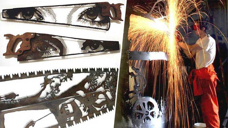 Il transforme de vieux outils agricoles en œuvres d'art