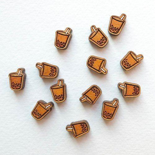 『TienTien』Painted wood earrings-Bubble tea