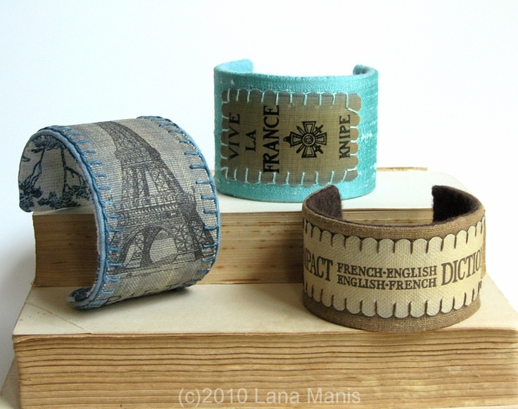 book spines repurposed into cuff bracelets