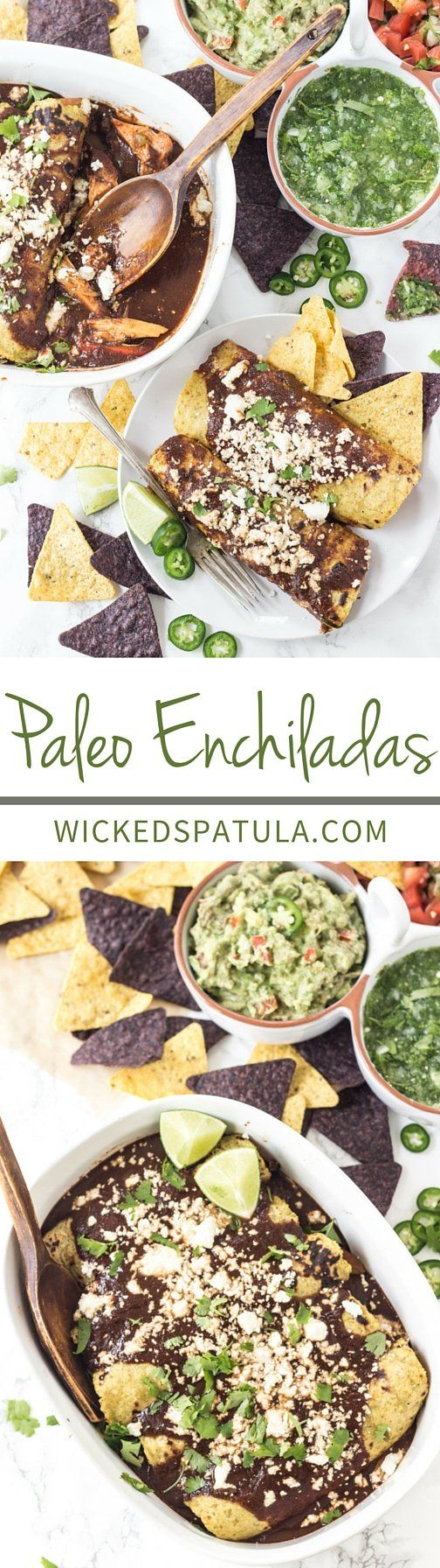 Paleo Enchiladas with ONE ingredient tortillas and a quick delicious sauce!