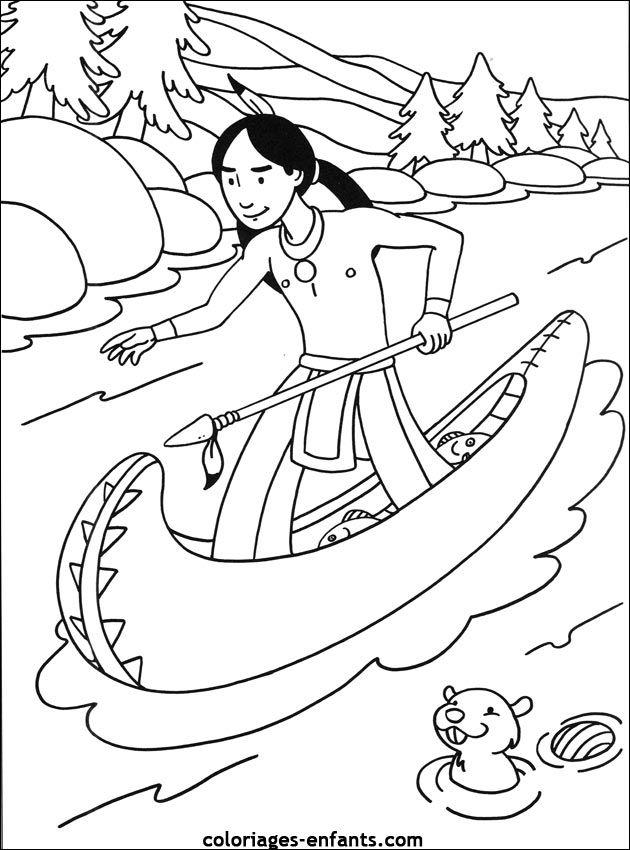 Nat American November Les coloriages d'indiens