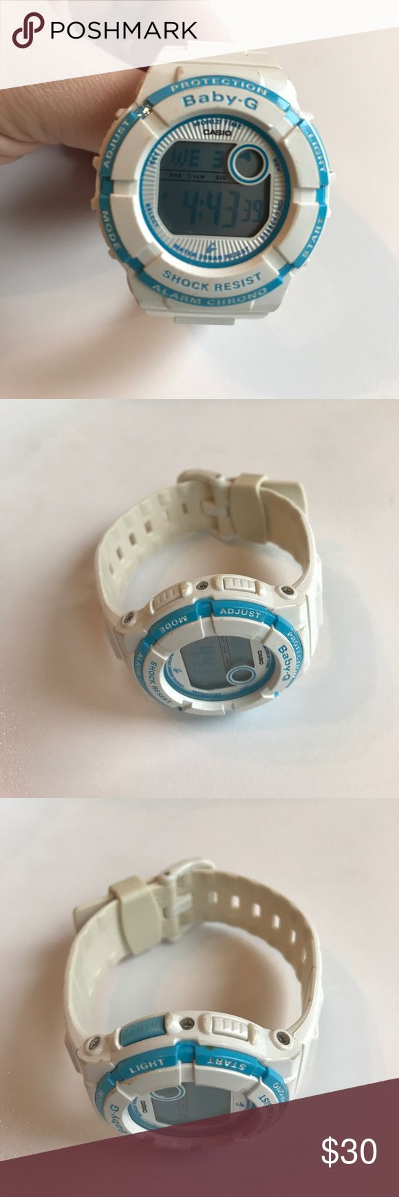 White Women's Baby-G G Shock Watch No scratches on face. Usual wear on band. Casio Accessories Watches