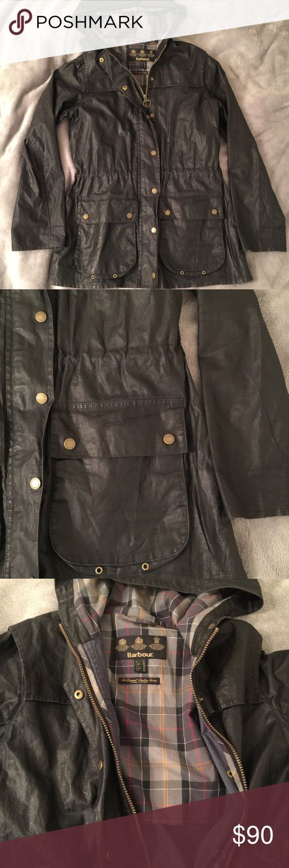 BARBOUR Women's rain jacket, size 10 US Back size 10US, 14UK waxed jacket. Fits like a medium. Lightweight. Drawstring waist. Great condition just slightly wrinkles because you can't wash these waxed jackets or they lose their finish. Bought in London at the Barbour store. Barbour Jackets & Coats Utility Jackets