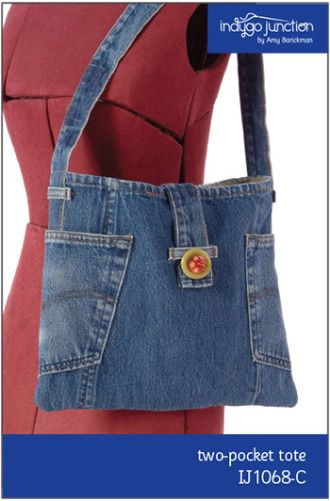 Two Pocket Recycled Jean Tote   YouCanMakeThis.com