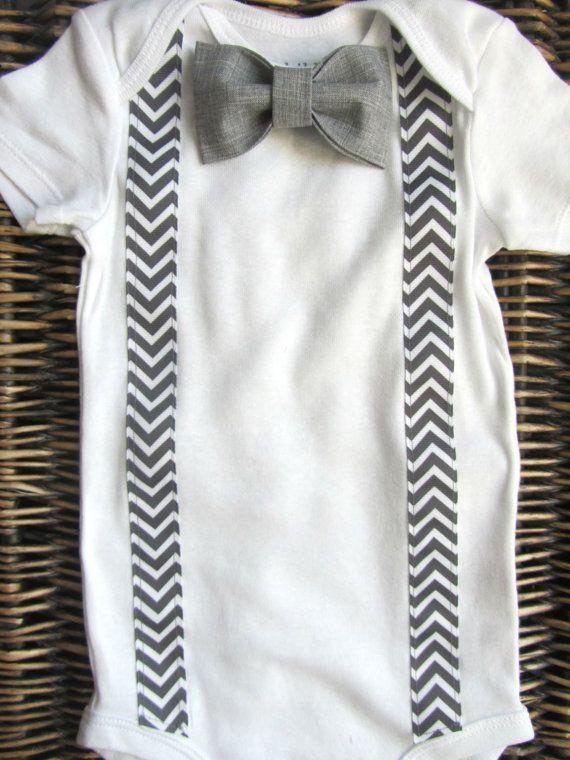 Baby Boy Clothes Bow Tie Onesie Suspenders by SewLovedBaby