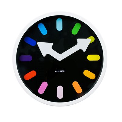 This steel wall clock with a fresh, modern black face and rainbow coloured hour markings is just the thing to bring some colour into your home. And, with the thick, white arrows for minute and hours hands, there is no mistaking what time it is.
