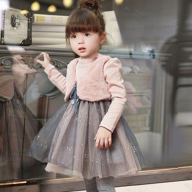 Crianças meninas vestidos de roupas de inverno roupas de criança mais dois pequeno jia3 ma3 splicing fio net vestido de bebê vestido de princesa da moda