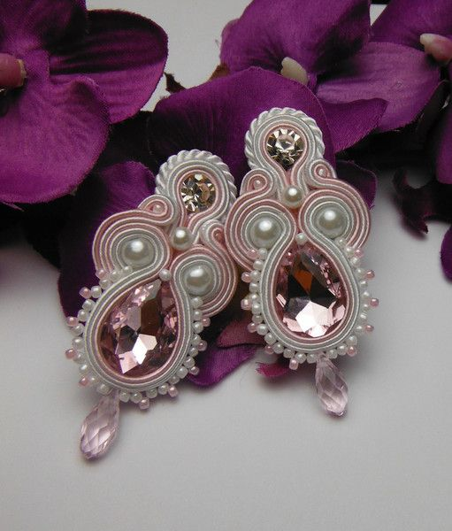 Pastel rose earrings soutache hand-made from Soutacheria by DaWanda.com