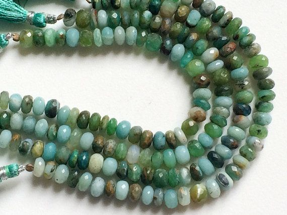 Aqua And Green Opal Faceted Rondelle Beads by gemsforjewels