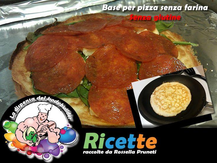 Base per pizza senza farina ---- per una pizza piccola (tra parentesi per raddoppiare la porzione) 1 cucchiaio (30 g) di farina di mandorle (variante: farina di riso) 1 cucchiaio (20 g) di olio d'oliva 1 albume (80 ml albume liquido) Pam Cooking Oil o Fry Light Pomarola, formaggio o quanto altro per guarnirla sale quanto basta ---- Cuocere come una crepe in una padella antiaderente. Guarnirla secondo il proprio gusto. Infornare per alcuni minuti a 180° C.