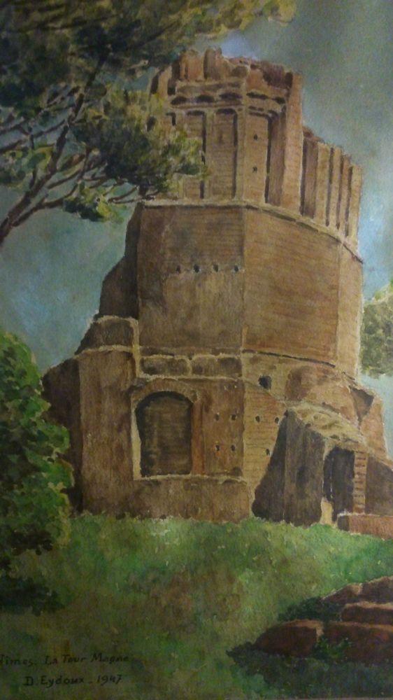 D.EYDOUX circa 1947 France Nîmes   La Tour Magne   aquarelle original sur papier
