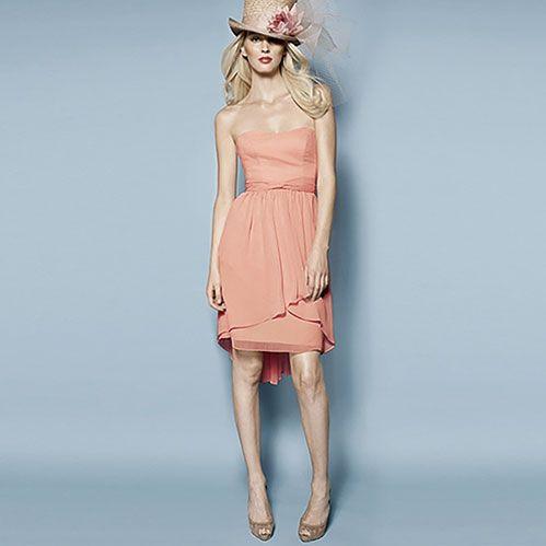 ブライズメイド・クリンクルシフォン・ベアドレス。サンセットに映えるコーラルピンクのブライズメイドドレス。 #Bridesmaid #Dress #Pink #Wedding