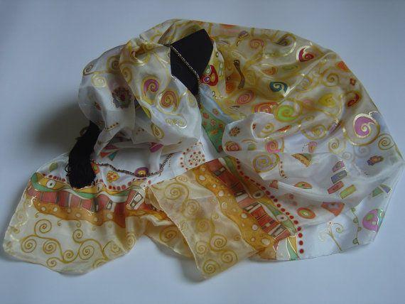 Hand painted silk scarf. The tree of life Klimt by AdeleDaniele