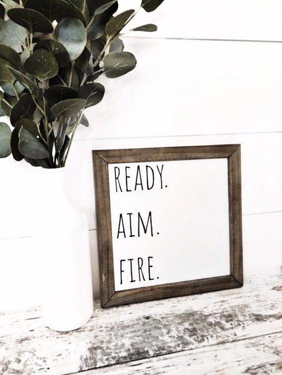 Ready Aim Fire Sign, Funny Bathroom Signs, Kids Bathroom Sign, Farmhouse Bathroom – Bathroom Decoration Modern