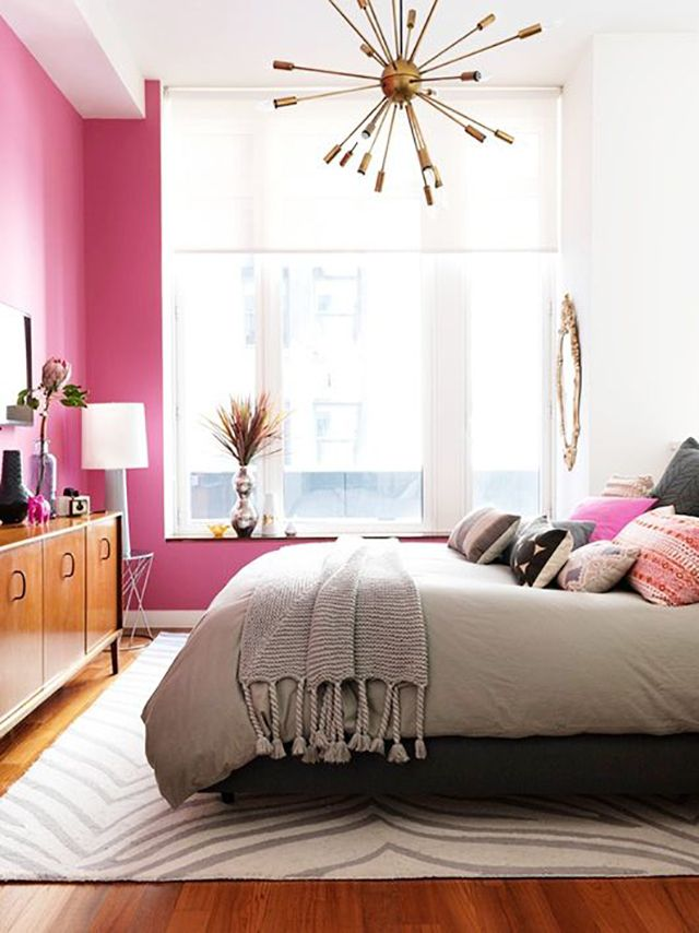 Decorating with Pink - I love the idea of painting a pink wall in the bedroom. Edgy, fun and feminine!