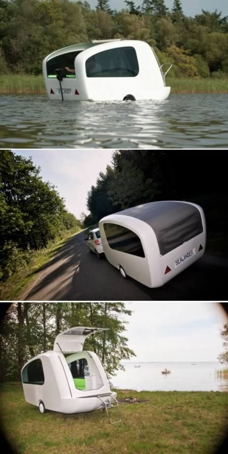 This is the Sealander, a camping trailer small enough to be towed behind a regular-sized car that, when backed into the water, turns into a lil boat. The tiny trailer can be pulled behind a car, the interior rearranges from kitchen to sleeping area, and best of all, you can put the pod out on the water if you feel like going boating for a bit.