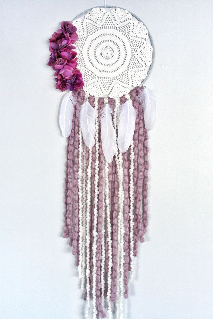 Floral boho dreamcatcher, floral dream catcher, boho decor, boho wall hanging, vintage doily, purple nursery decor by autumnandlilydesigns on Etsy https://www.etsy.com/ca/listing/577520422/floral-boho-dreamcatcher-floral-dream
