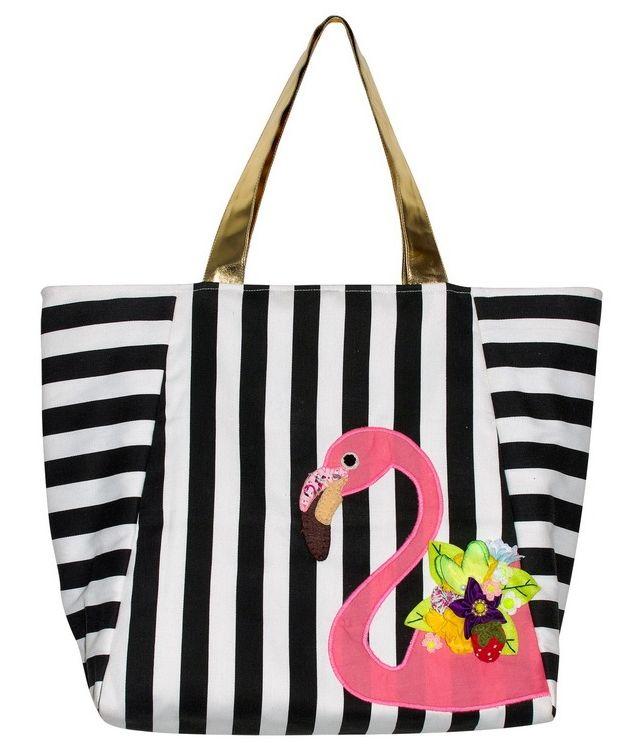Bag in black & white striped print with flamingo appliqué