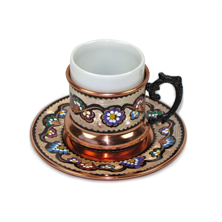 Double Size Turkish Coffee Cup With Saucer 6 Oz
