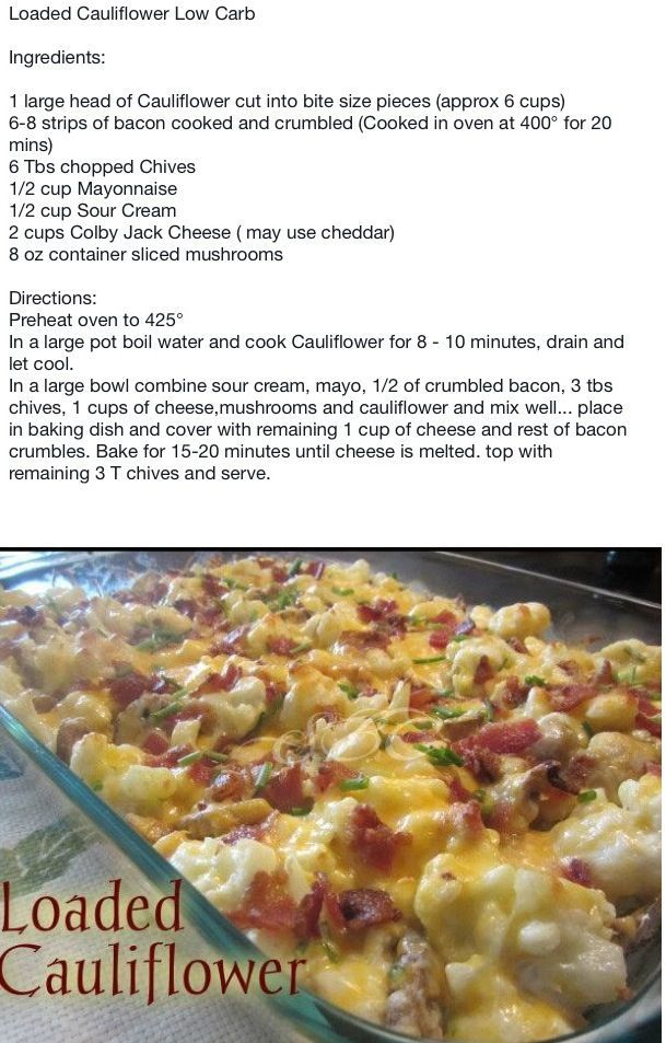 Loaded cauliflower casserole - everyone loved it...a nice change instead of potatoes or rice.: