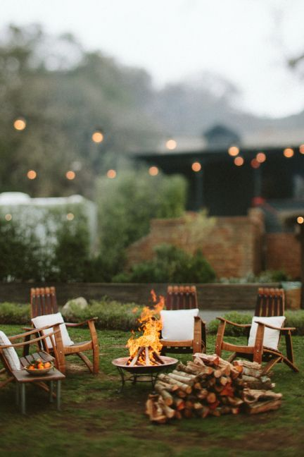 Cozy backyard fire pit