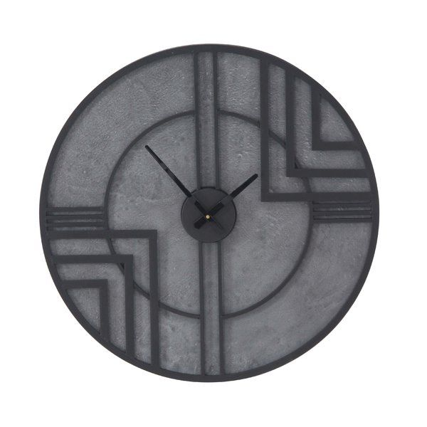 Modern Reflections Metal And Wood Wall Clock Feature Around Construction With Black Outline Lines Figures And Rough Gray Backg Wall Clock Clock Modern Clock