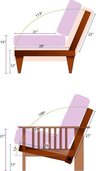Inclinación de respaldo estándar para sofá.                                                                                                                                                      Más