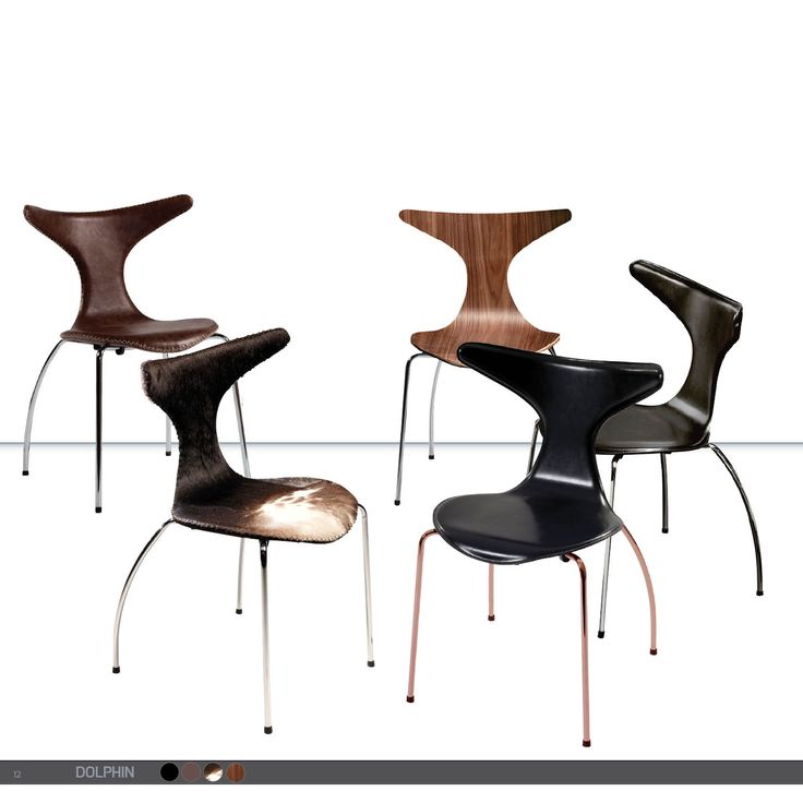 DOLPHIN Chair - Leather, cowhide, walnut w. chrome and copper legs
